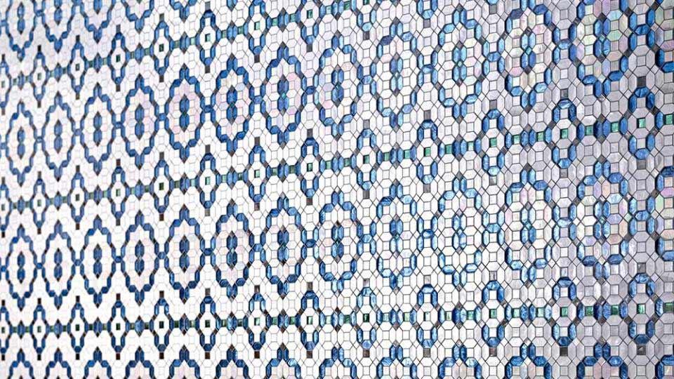 SICIS Mosaik in Blau und Weiß