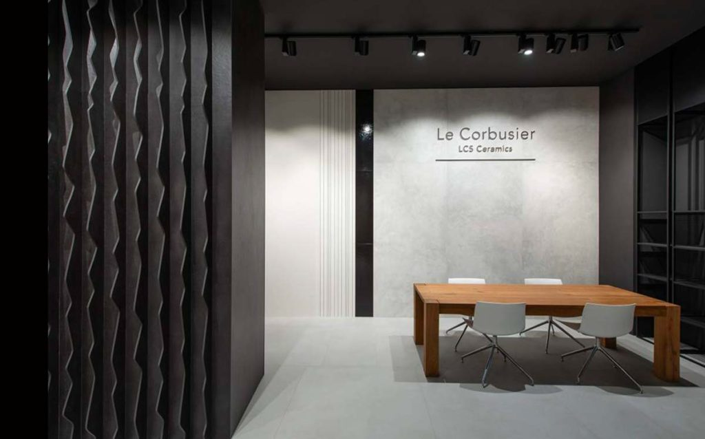 Feinsteinzeug Fliesen der Firma Gigacer aus Italien aus der le Corbusier Kollektion