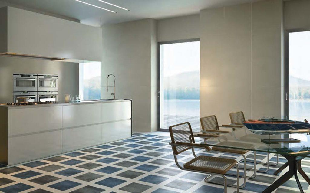 Feinsteinzeug Fliesen der Firma Gigacer aus Italien in blau für die Küche